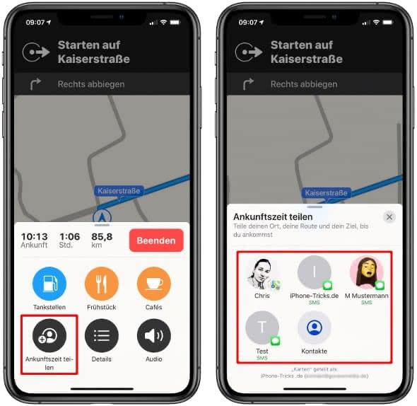 Ankunftszeit teilen in der Karten-App