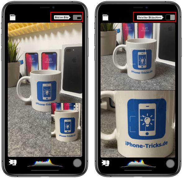 Bild in Bild Modus bei DoubleTake App