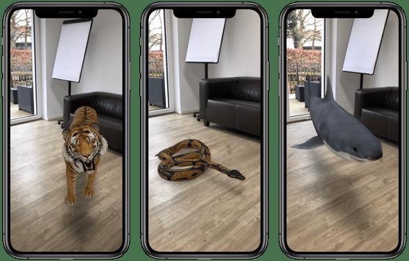 Google AR Tiere Liste