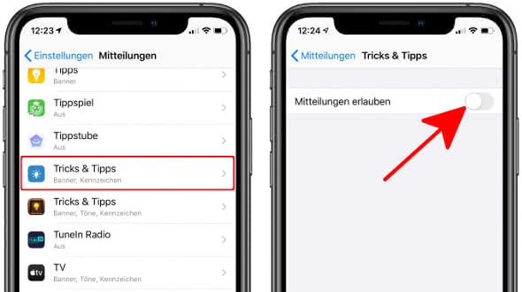 iPhone Mitteilungen erlauben