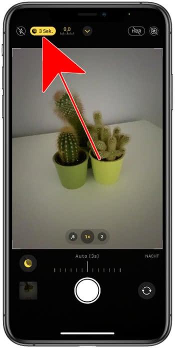 Nachtmodus Icon in der Kamera-App