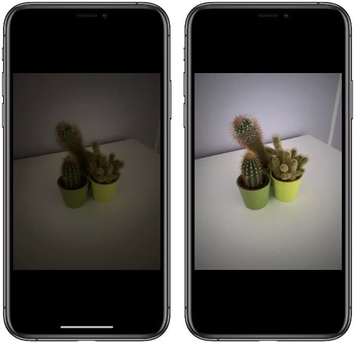 Normales Foto vs. Nachtmodus-Foto