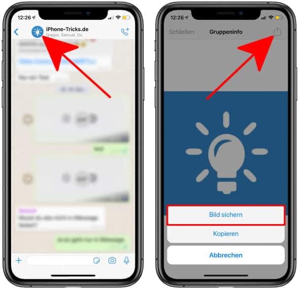 WhatsApp Profilbild von Gruppenchat speichern auf dem iPhone