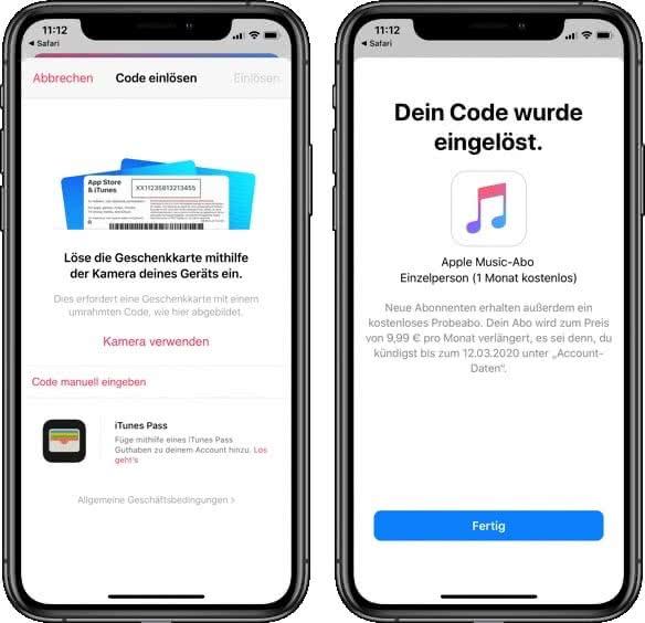 Apple Musik Gutschein einlösen