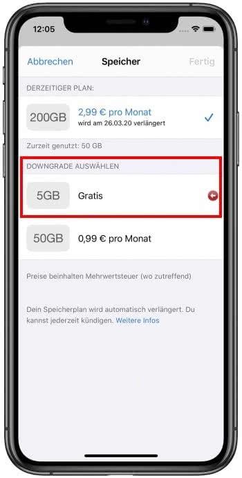 iCloud Speicher Downgrade