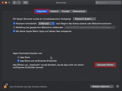 Öffnen von Datei erlauben in den Mac-Systemeinstellungen