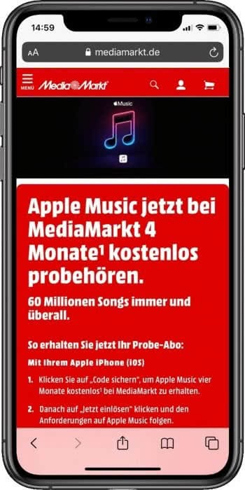 Media Markt Apple Music Gutschein