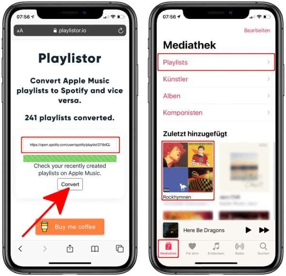 Spotify Playliste zu Apple Music übertragen
