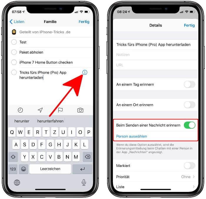 """""""Beim Senden einer Nachricht erinnern"""" aktivieren in der Erinnerungen-App am iPhone"""
