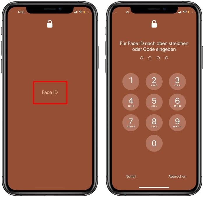 Face-ID-Prozess abbrechen und Tastenfeld für PIN-Code Eingabe anzeigen