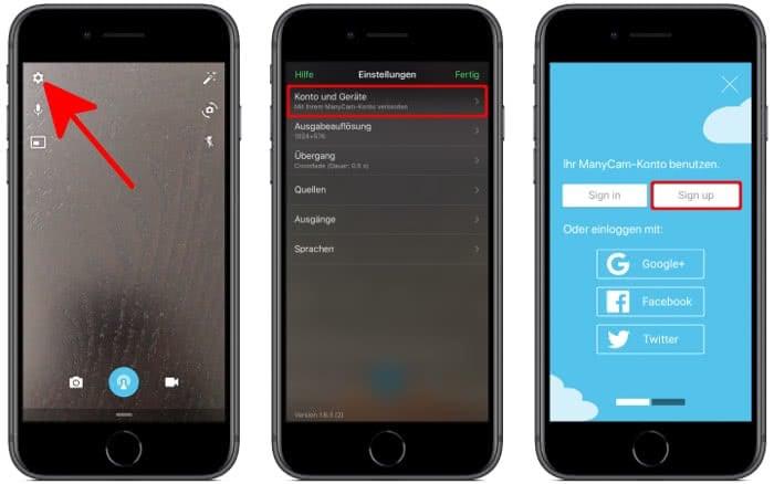 ManyCam Account erstellen auf dem iPhone