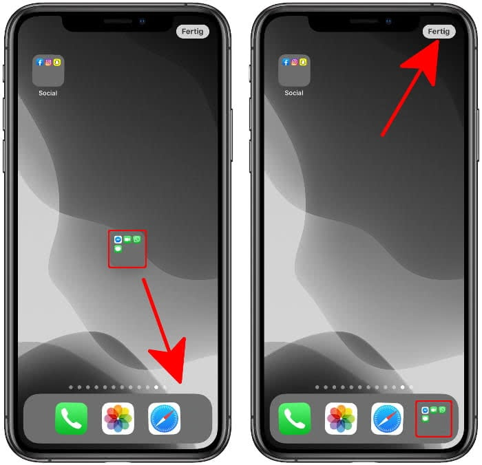 App-Ordner in den iPhone-Dock ziehen