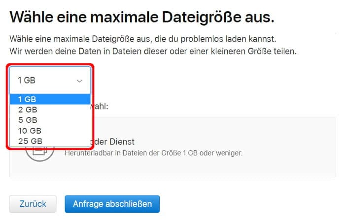Maximale Dateigröße für Download der iCloud-Fotos auswählen