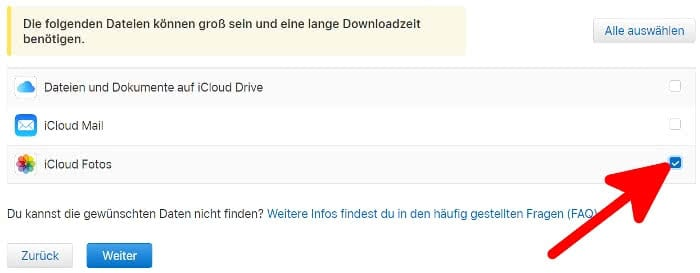 "Häkchen bei ""iCloud Fotos"" setzen"