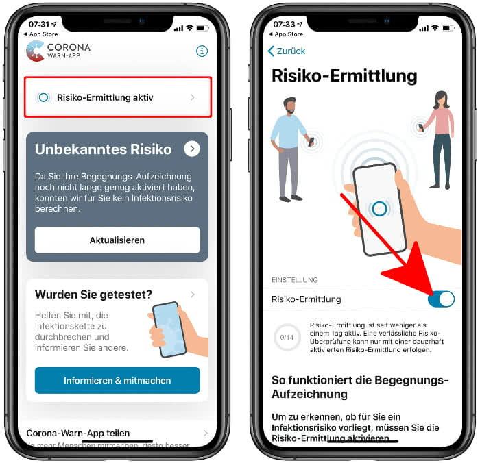 Risiko-Ermittlung aktivieren in der Corona-Warn-App