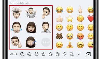 Memoji-Sticker auf der Emoji-Tastatur