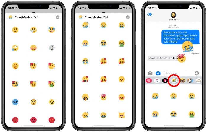 EmojimashupBot in iMessage auf dem iPhone
