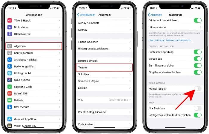 Memoji-Sticker deaktivieren auf dem iPhone
