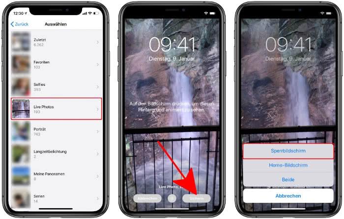 Live Photo als Hintergrundbild am iPhone-Sperrbildschirm einstellen