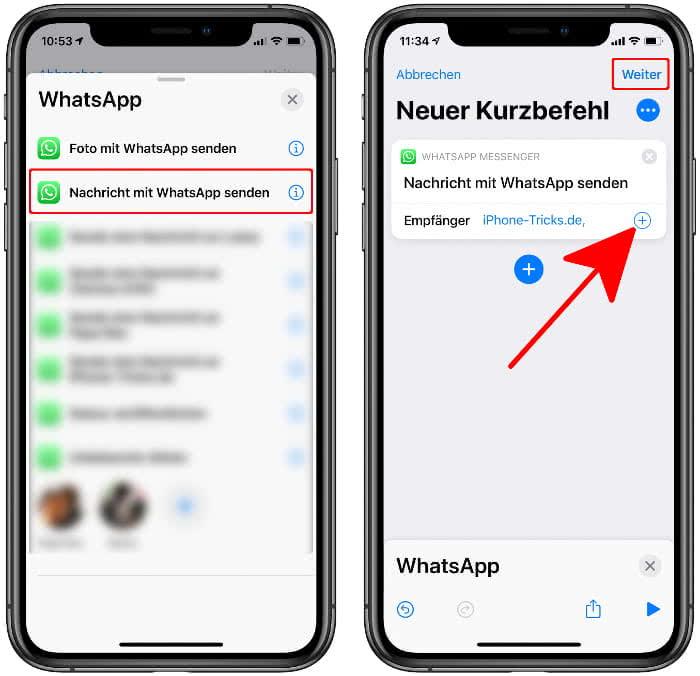 Empfänger der WhatsApp-Nachricht auswählen