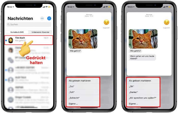 iMessage-Nachricht gedrückt halten und schnell beantworten