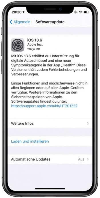 iOS 13.6 Softwareupdate