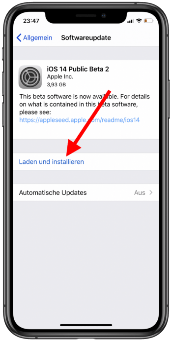 iOS 14 Public Beta Installation