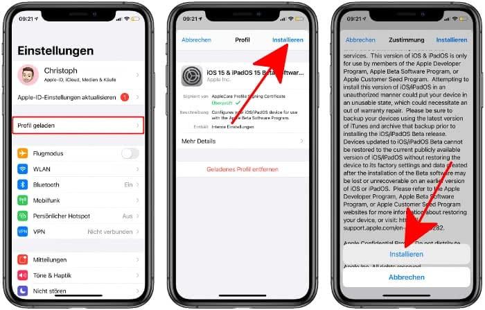 iOS 15 Public Beta installieren