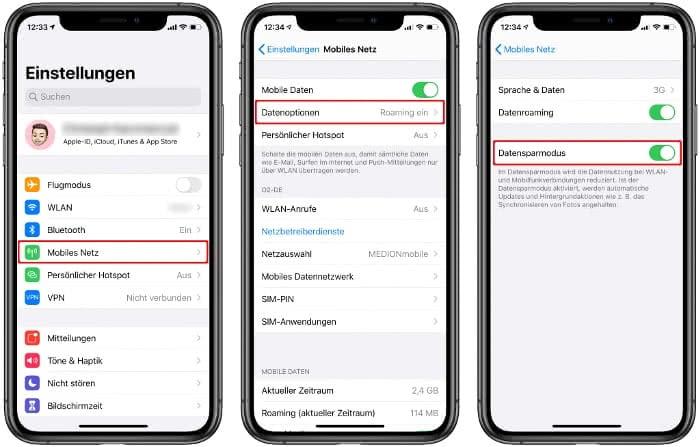 Datensparmodus aktivieren auf dem iPhone
