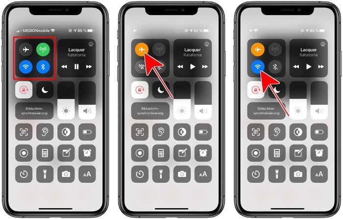 Flugmodus und WLAN aktivieren am iPhone