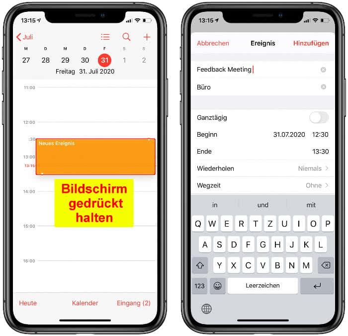 Termine schneller anlegen in der Kalender-App