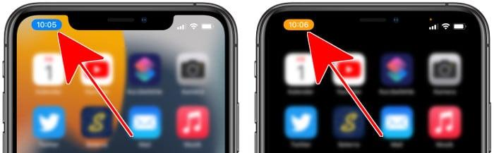 Blaue und orange Uhrzeitanzeige am iPhone