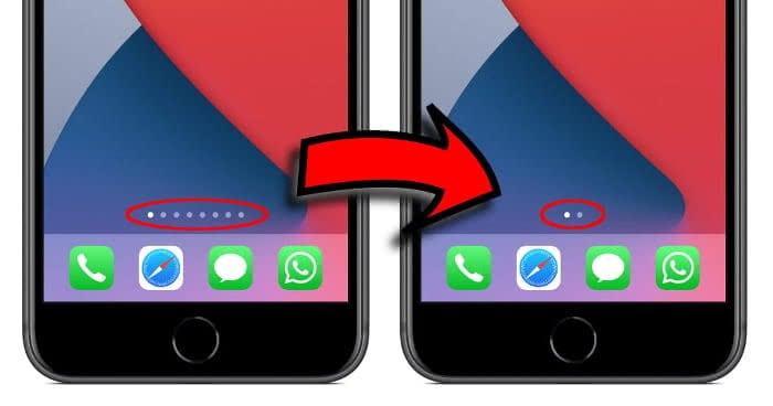 iPhone Homescreen-Seiten Vorher-Nachher-Screenshot