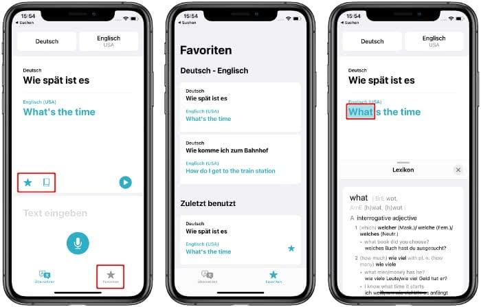 Favoriten und Lexikon in der Übersetzen-App