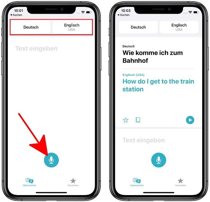 Mikrofon-Button drücken in der Übersetzen-App