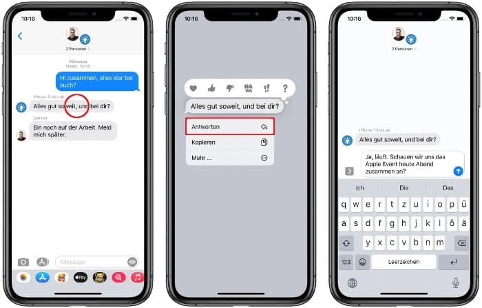 Direkte Antworten in iMessage nutzen
