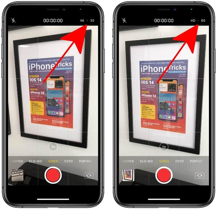 Videoformat ändern in der Kamera-App