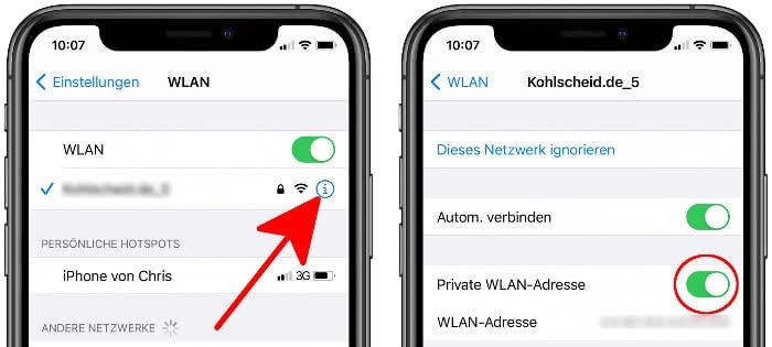 Private WLAN-Adresse aktivieren
