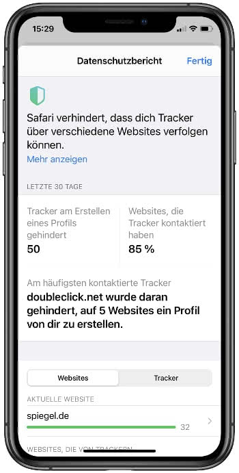 Datenschutzbericht einer Webseite in Safari