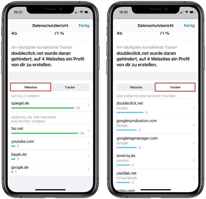 Websites und Tracker im Datenschutzbericht anzeigen