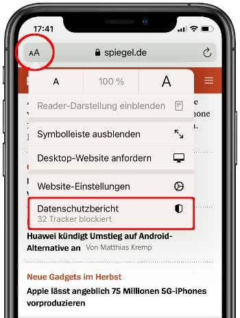 Datenschutzbericht einer Webseite in Safari aufrufen