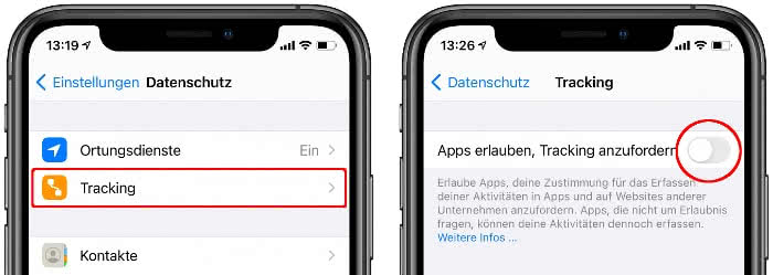 Apps nicht erlauben, Tracking anzufordern