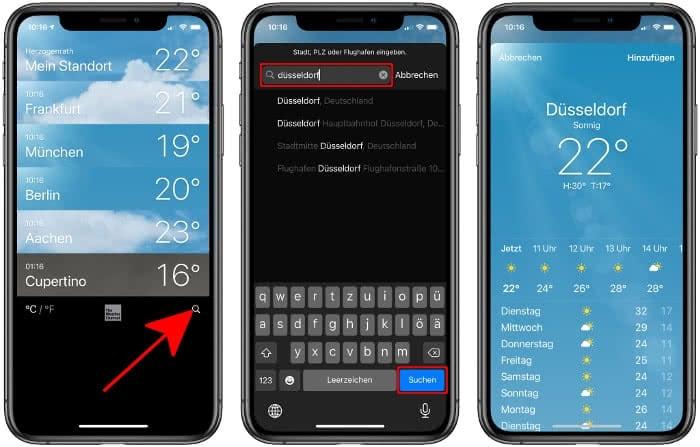 Orte suchen und anzeigen in der Wetter-App