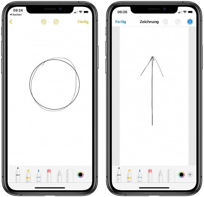Zeichnung automatisch korrigieren auf dem iPhone