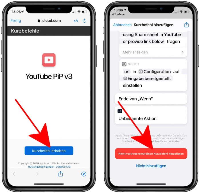 YouTube PiP v3 Kurzbefehl hinzufügen