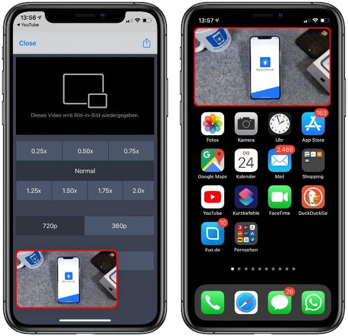 YouTube-Video im Bild-in-Bild Modus auf dem iPhone
