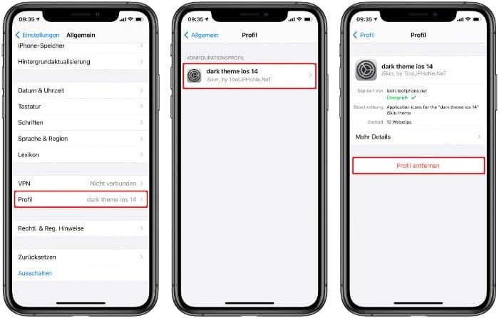 Profil eines App Pakets löschen