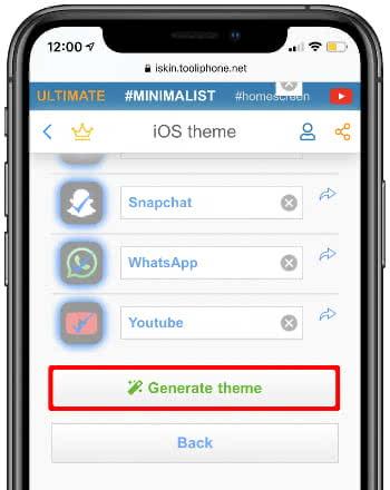 Icon Theme generieren auf der iSkin-Webseite
