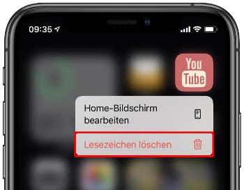 Erstelltes App Icon löschen