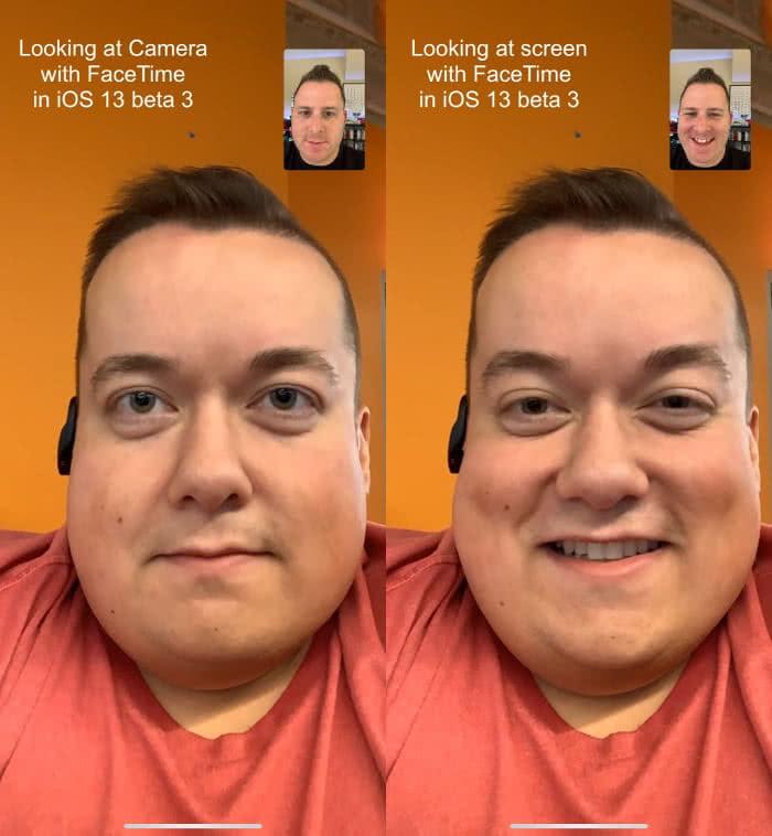 FaceTime-Anruf mit und ohne Augenkontakt-Funktion